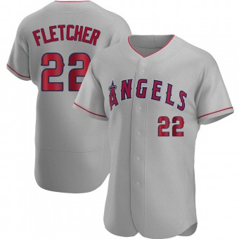Men's David Fletcher Los Angeles Gray Authentic Road Baseball Jersey (Unsigned No Brands/Logos)