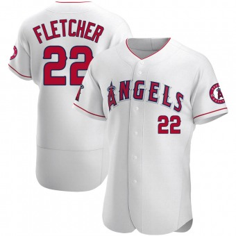 Men's David Fletcher Los Angeles White Authentic Baseball Jersey (Unsigned No Brands/Logos)