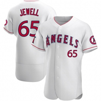 Men's Jake Jewell Los Angeles White Authentic Baseball Jersey (Unsigned No Brands/Logos)