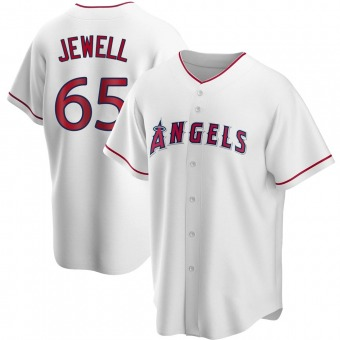 Men's Jake Jewell Los Angeles White Replica Home Baseball Jersey (Unsigned No Brands/Logos)