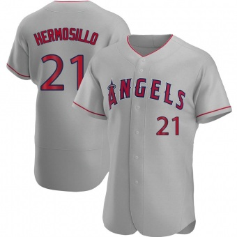 Men's Michael Hermosillo Los Angeles Gray Authentic Road Baseball Jersey (Unsigned No Brands/Logos)