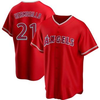 Men's Michael Hermosillo Los Angeles Red Replica Alternate Baseball Jersey (Unsigned No Brands/Logos)