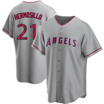 Men's Michael Hermosillo Los Angeles Replica Silver Road Baseball Jersey (Unsigned No Brands/Logos)