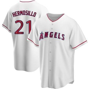 Men's Michael Hermosillo Los Angeles White Replica Home Baseball Jersey (Unsigned No Brands/Logos)