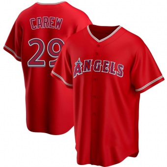 Men's Rod Carew Los Angeles Red Replica Alternate Baseball Jersey (Unsigned No Brands/Logos)