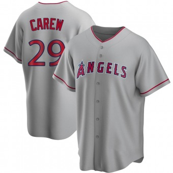 Men's Rod Carew Los Angeles Replica Silver Road Baseball Jersey (Unsigned No Brands/Logos)