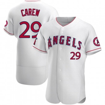 Men's Rod Carew Los Angeles White Authentic Baseball Jersey (Unsigned No Brands/Logos)