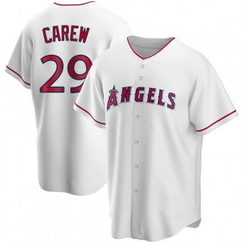 Men's Rod Carew Los Angeles White Replica Home Baseball Jersey (Unsigned No Brands/Logos)