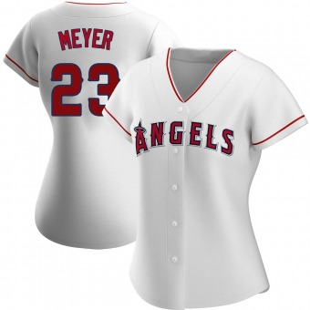 Women's Alex Meyer Los Angeles White Authentic Home Baseball Jersey (Unsigned No Brands/Logos)