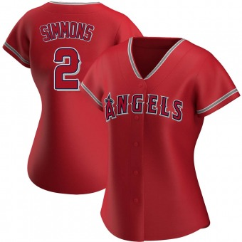 Women's Andrelton Simmons Los Angeles Red Authentic Alternate Baseball Jersey (Unsigned No Brands/Logos)
