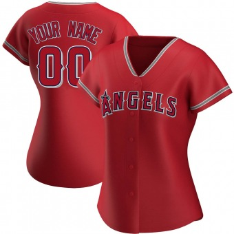 Women's Custom Los Angeles Red Authentic Alternate Baseball Jersey (Unsigned No Brands/Logos)