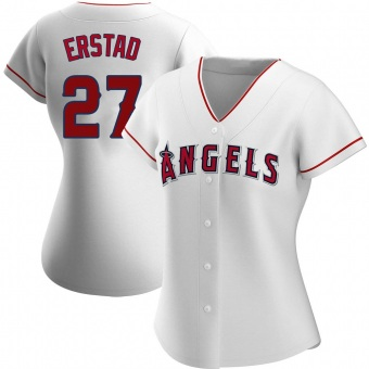 Women's Darin Erstad Los Angeles White Authentic Home Baseball Jersey (Unsigned No Brands/Logos)