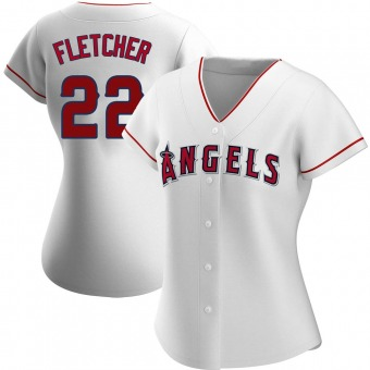 Women's David Fletcher Los Angeles White Authentic Home Baseball Jersey (Unsigned No Brands/Logos)