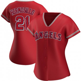 Women's Michael Hermosillo Los Angeles Red Authentic Alternate Baseball Jersey (Unsigned No Brands/Logos)