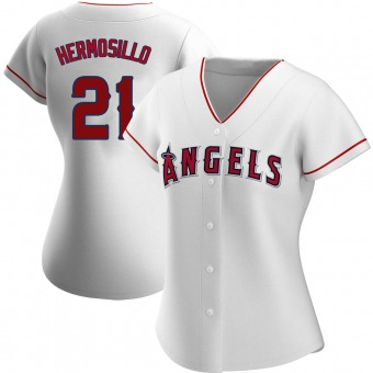 Women's Michael Hermosillo Los Angeles White Authentic Home Baseball Jersey (Unsigned No Brands/Logos)