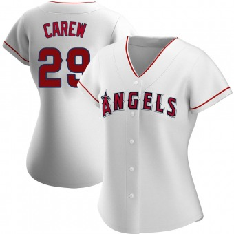 Women's Rod Carew Los Angeles White Authentic Home Baseball Jersey (Unsigned No Brands/Logos)
