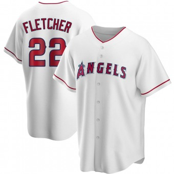 Youth David Fletcher Los Angeles White Replica Home Baseball Jersey (Unsigned No Brands/Logos)