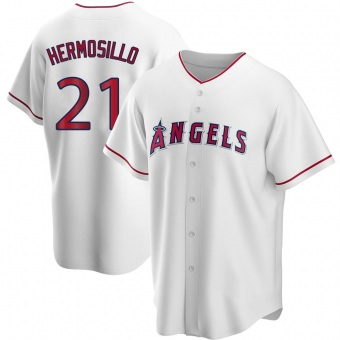 Youth Michael Hermosillo Los Angeles White Replica Home Baseball Jersey (Unsigned No Brands/Logos)